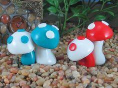 Mushroom Pair for Fairy Garden- any colors OOAK