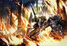 battle dark_angels duel flame horus_heresy konrad_curze lion_el'jonson neil_roberts night_lords power_claws primarch space_marines sword terminator