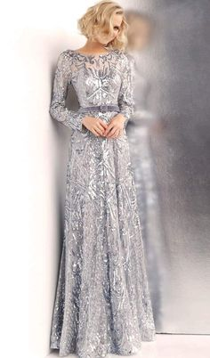 Silver Evening Gowns, Evening Gowns With Sleeves, Glamorous Evening Gowns, Designer Evening Gowns, Designer Dresses, Formal Gowns With Sleeves, Long Sleeve Formal Dress, Formal Evening Gowns, Silver Long Sleeve Dress