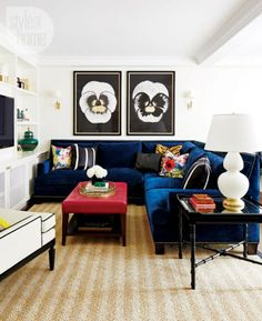 love the blue couch and rug combo with red table. This is getting primary! But really, rug is fantastic with couch