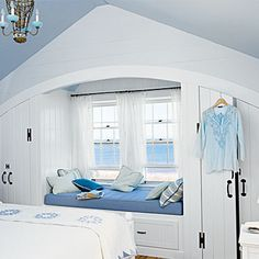 Space-Saving Built-Ins: Room for Reading - Space-Saving Built-Ins - Coastal Living Mobile Cottage Living, Coastal Cottage, Coastal Living, Built In Bed, Built Ins, Bedroom Reading Nooks, Dream Beach Houses, Coastal Bedrooms, Cozy Place