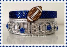 8e686dcfb Items similar to Silver and Blue COWBOYS Rhinestone Football Sparkle Charm  Bracelet Set on Etsy