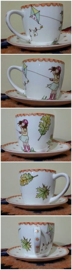 Xícara I love this cup & saucer. Pottery Painting, Ceramic Painting, Porcelain Ceramics, Ceramic Pottery, Design Café, Painted Cups, Sharpie Art, China Tea Cups, China Painting