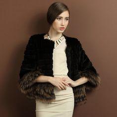2014 new rabbit fur coat female raccoon fur hem round neck short paragraph special clearance USD$270.00