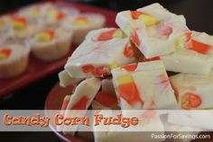 One of my favorites! Candy Corn Fudge. Super simple even for Kids to help with and it's bright and festive! Only a few ingredients involved.