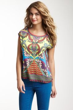 $19 Cap Sleeve Print Top on HauteLook