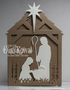 Dina Kowal Creative: Impression Obsession - All About the Dies - Day 3 Religious Christmas Cards, Diy Christmas Cards, Christmas Nativity, Christmas Wishes, Xmas Cards, Christmas Projects, Handmade Christmas, Christmas Holidays, Christmas Decorations