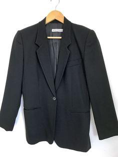 Vintage Emporio Armani Black Italian Wool Crepe Women's Blazer 44 EUC  | eBay