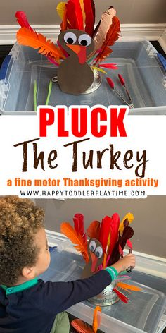 Pluck the Turkey: Feather Grab Activity - HAPPY TODDLER PLAYTIME Fall Preschool Activities, Creative Activities For Kids, Infant Activities, Preschool Lessons, Preschool Learning, Learning Activities, Easy Thanksgiving Crafts, Thanksgiving Activities For Kids, Fall Crafts For Kids