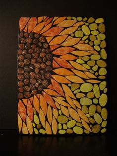 paper mosaic sunflower by FledderflyDesigns on Etsy, $35.00