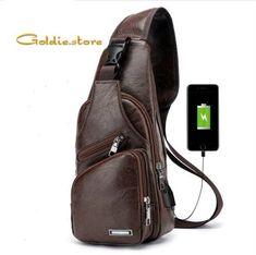 Outdoor Shoulder USB Charging Port Chest Bag Travel Daypack Sling Bag Crossbody Bag For Men Designer Messenger Bags, Messenger Bag Men, Designer Bags, Usb, Mens Crossbody Bag, Leather Shoulder Bag, Shoulder Bags, Leather Wallet, Shoulder Backpack
