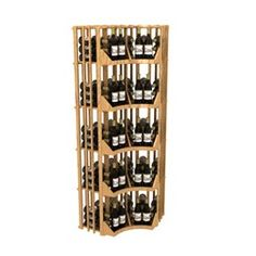 Six Column curved corner wine rack with solid display - Width 29 3/4 inches (from the corner out), Height 83 9/16 inches, Bottles 160, Columns 6 Wine Cellar Specialists  4421 Cedar Elm Circle Richardson, TX 75082  Toll Free: 866-646-7089  Texas Office: 972-454-0480  Illinois Office: 773-234-0112