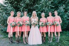 Coral, Blush, and Peach Wedding. Bouquets consisted of dahlias, garden roses, ranunculus, eucalyptus, football mums.  Ribbon Tails on the bridal bouquet and bridesmaids bouquets.  PNW Wedding.  Florist: Seven Sister Designs  Photo: Hatch Photography