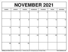 November 2021 Calendar November Calendar, Yearly Calendar, 2021 Calendar, September, Printable Calendar Template, Close Proximity, Notes, Fill, Sunday