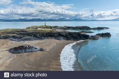 Wales Uk, North Wales, Anglesey, Lighthouse, Stock Photos, Island, Beach, Illustration, Water