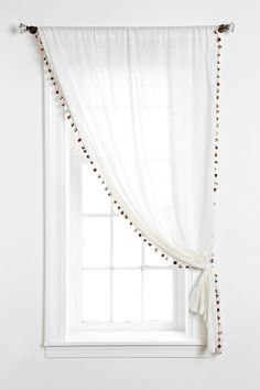 Pompom Curtain,Magical Thinking Pompom Curtain - Urban Outfitters Curtain monitor or curtain rod? The most common types of fastening for curtains are rods and rails. Pom Pom Curtains, Drop Cloth Curtains, Gold Curtains, Burlap Curtains, Green Curtains, Curtains Living, Short Curtains Bedroom, Bathroom Curtains, Pom Poms