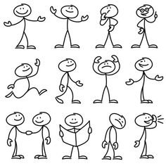 Cartoon hand drawn stick man in different poses vector set. Cartoon - People Photos - Ideas of People Photos - Cartoon hand drawn stick man in different poses vector set vector art illustration Doodle Sketch, Doodle Drawings, Easy Drawings, Cartoon Faces Expressions, Stick Figure Drawing, Stick Man, Sketch Notes, Free Vector Art, Vector Graphics
