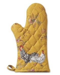 "Our baking mitt is printed with French-country style roosters by Parisian artist Marc Lacaze over an antique floral pattern. Quilted with heavyweight cotton on the outside and thick cotton terry inside, it provides plenty of protection and a comfortable fit. Machine-wash. 13"" long. Made in the USA. A Williams-Sonoma exclusive"