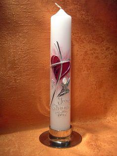 Kommunionkerze  Herz-Jesus moderner Kelch   5108 von KerzenundGeschenke auf DaWanda.com