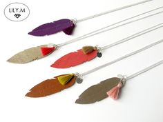 Great gift for boho chick. Multi Chain Necklaces – Feather Necklace Leather, Silver Pompon Reversible – a unique product by Lily-m-shop via en.DaWanda.com