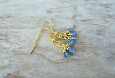 Dark Blue Jade Cluster Earrings Blue and Gold by StrokesandStone Jade Earrings, Cluster Earrings, Etsy Earrings, Earrings Handmade, Dark Blue, Gold, Jewelry, Jewlery, Deep Blue