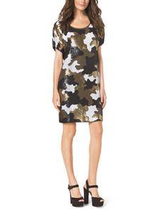 T8T15 MICHAEL Michael Kors  Sequined Camo-Print Dress