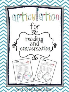 Articulation for Reading and Conversation Speech Therapy Intervention. Repinned by SOS Inc. Resources pinterest.com/sostherapy/.
