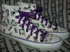 VTG 80S MENS 8.5 WHITE THE JOKER BATMAN PRINT CANVAS CONVERSE USA SNEAKER SHOES