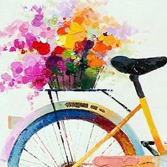 Painting ideas and inspiration The Visual Art Academy Bicycle Painting, Bicycle Art, Illustration Blume, Art Techniques, Painting Inspiration, Painting & Drawing, Image Painting, Les Oeuvres, Art Pictures