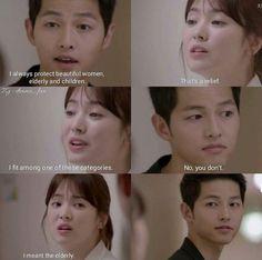 Descendants of the Sun - Movie And Comic Korean Drama Funny, Korean Drama Quotes, Dots Kdrama, Desendents Of The Sun, Soon Joong Ki, Drama Fever, W Two Worlds, Kdrama Memes, Song Hye Kyo