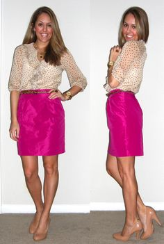 Polka dots and pencil skirt, too bright for an office. But cute together.