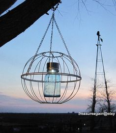 Mason Jar Garden Art Solar Light Upcycled Outdoor by treasureagain, $58.00