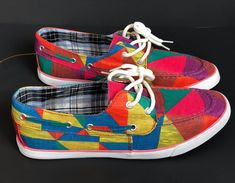 New Womens Misbehave Classic Boat Shoe Sz 8 Colorful Lace Up Geometric Plaid