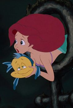 *FLOUNDER & ARIEL ~ The Little Mermaid, 1989....Saving Flounder