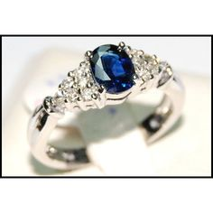 __undefined__ Blue Sapphire Natural Diamond Solitaire White by BKGjewels Sapphire Solitaire Ring, Blue Sapphire Rings, Ruby Rings, White Gold Rings, White Gold Diamonds, Natural Diamonds, Ruby Bracelet, Bracelets, 3 Stone Rings