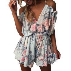 864add2eadb Women Boho Style Jumpsuit Short Sexy Shoulder Sleeve Floral Pattern Summer  Dress  fashion  clothing. Casual JumpsuitJumpsuit ShortsRuffle ...