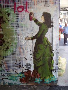 Looks like Banksy, not sure.