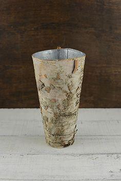 Birch Bark Centerpiece Vase 7in, Zinc Planter | Birch bark, Birch ...