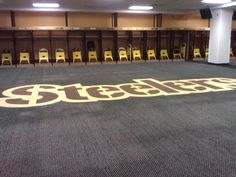 In the Locker Room of Heinz Stadium - Home of the Pittsburgh Steelers and the Univ. of Pittsburgh Panthers - Heinz Stadium. Photo by Gabby Weiss