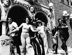 Eugene Levy, Gilda Radner, Dan Akroyd, Catherine O'Hara and John Candy outside of Second City... c 1974
