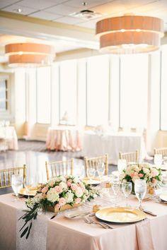 photographer: Still55 Photography; Pink and gold ballroom wedding reception idea;