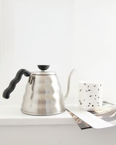 Hario kettle and Cooee spots coffee cup for a minimal Scandi style.