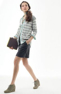 Caslon® Corduroy Skirt, Paired 6 Ways: V-Neck Raglan Stripe Cardigan & Plaid One-Pocket Shirt #Nordstrom #AugustCatalog