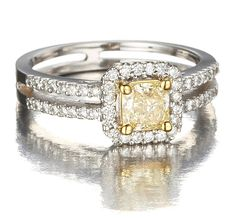 Princess Cut Natural Fancy Yellow Diamond Engagement Ring in 18k Gold with White Diamonds only $4,500.00 - Engagement Rings