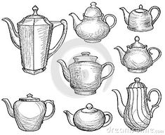 Illustration about Kettles set. Teapots silhouette sketch old-fashioned collection. Illustration of design, beauty, blob - 54903464 Art Sketches, Art Drawings, Teapot Centerpiece, Teapot Crafts, Old Tea Pots, Instalation Art, Buch Design, Object Drawing, Sketch Design