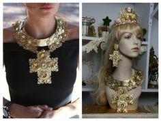 1475 Total Baroque Gold Filigree Huge Cross Necklace SET