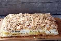 Cremes, cremsnit, crempita, prajitura cu foietaj, frisca si crema de vanilie Romanian Desserts, Romanian Food, Cheesecakes, Tiramisu, Sweet Treats, Sweets, Bread, Homemade, Ethnic Recipes