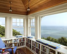 I think I would probably never leave this room with all the books and the view!