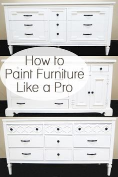 How to paint furniture like a pro. Lots of furniture painting makeovers and tutorials Furniture diy furniture arrangement Furniture Projects, Furniture Making, Furniture Makeover, Home Projects, Diy Furniture, Painting Furniture White, How To Paint Furniture, Furniture Refinishing, Antique Furniture