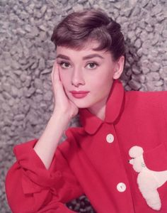 Audrey Hepburn, young and fresh faced...girls all loved her short pixie hair for the summer...and is there a poodle on her shirt!!!  Wow I think Maryellen would love it.